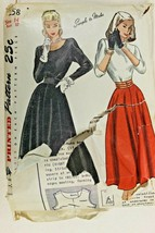 Vtg 1947 Sewing Pattern Simplicity #2258 Womens 1 PC Dress Party Sz 14 - $16.38