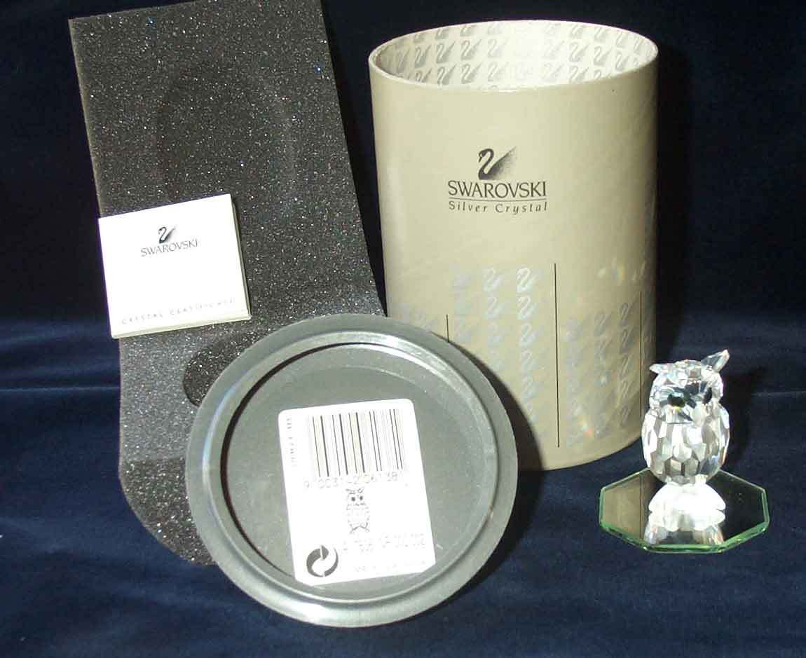 1996 Swarovski Silver Crystal Night Owl  No. 206 138  Retired