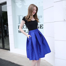 Lady PLEATED Ruffle MIDI Skirt Taffeta Midi Pleated Holiday Skirt-Blue,Plus Size image 6
