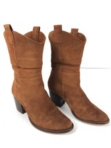 Steve Madden Rust Brown Suede Western Leather Block Heel Ankle Boots Size 7 - $68.31
