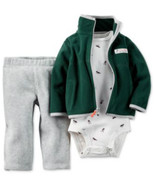 Carters Baby Boys 3 Piece Jacket Pants Bodysuit Outfit Green White Gray ... - $19.99