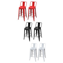 """Metal Stackable Bar Stool with Backrest Set of 2  40"""" Kitchen White/Blac... - $116.99"""