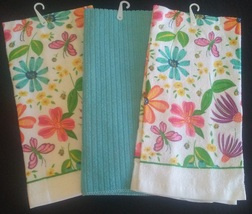 SPRING FLOWERS KITCHEN TOWELS 3-pc Towel Flower Butterfly Turquoise Gree... - $11.99