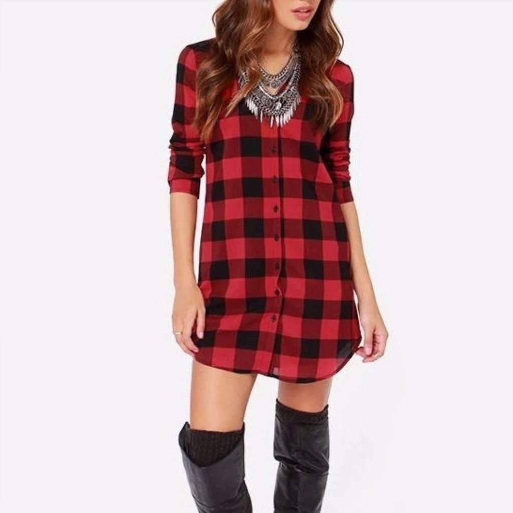 Daisy dress for less shirt dress retro plaid slim top shirt dress 1407394578463