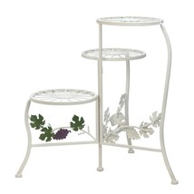 Outdoor Plant Stand, Metal Rustic White Grapevine 3-tier Plant Stand Ped... - $55.99
