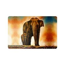 InterestPrint A Family Elephant Animal Oil Paintingg Doormat Non-Slip Indoor And - $18.80