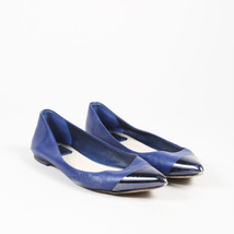 Christian Dior Blue Leather Pointed Cap Toe Ballet Flats SZ 39.5 - $125.00