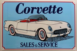 Corvette Sales and Service White Classic Car Metal Sign - $15.95
