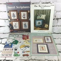 Cross Stitch Pattern Books Leaflets Lot Of 4 Children Dolls VTG 80's-90's - $9.89