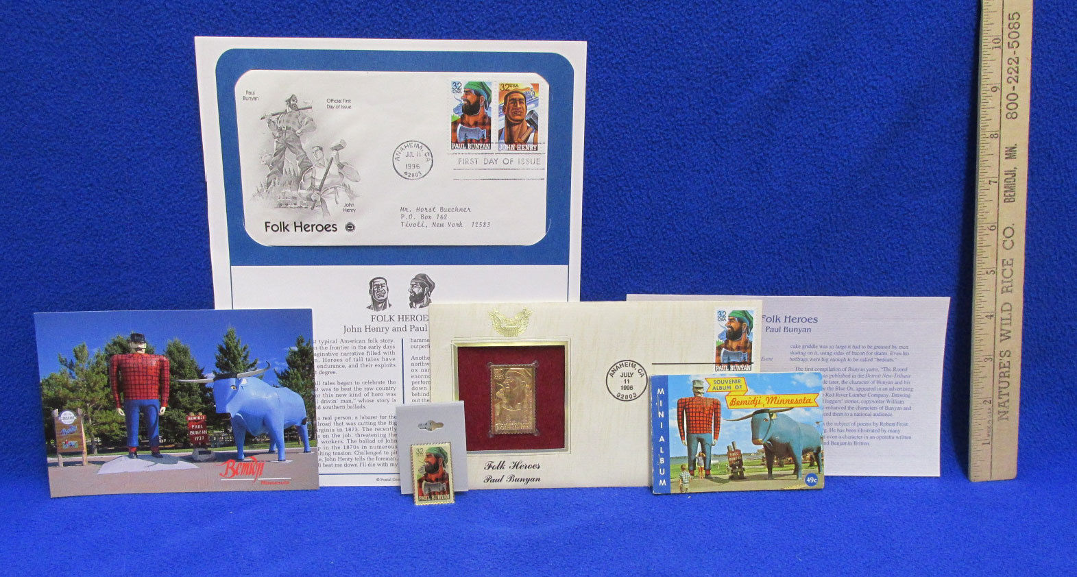 Paul Bunyan John Henry Stamp Folk Heros First Day Issue Post Card Pin Gold Stamp