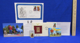 Paul Bunyan John Henry Stamp Folk Heros First Day Issue Post Card Pin Gold Stamp image 1