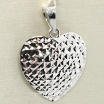 18K WHITE GOLD HEART PENDANT, CHARMS, FINELY WORKED, CURVED, MADE IN ITALY image 1