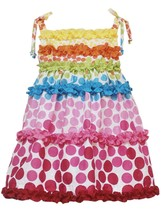 Rare Editions Little Girl 2T-4T Multicolor Gradient Dot Print Clip Dot Dress
