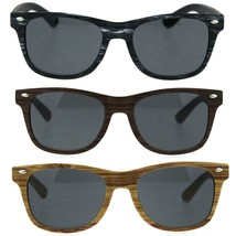 Child Size Kids Wood Grain Print Hipster Horn Rim Plastic Sunglasses - $8.95