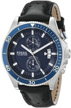 NWOT Fossil Men's CH2945 Wakefield Chronograph Black Leather Watch - $84.10