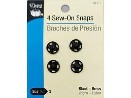 Dritz Sew On Snaps, Black, Set of 4 #80-3-1