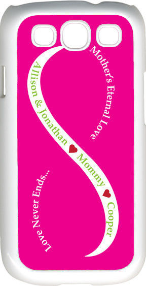 Primary image for Fuchsia Pink & White Mother's Love Three Green Name Samsung Galaxy S3 Case Cover