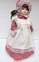 Vintage Porcelain Bisque DOLL w Cloth Body Cotton Dress Bonnet Victorian... - $33.61