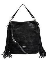 BRAND NEW W/ TAGS, Guess Black Suede Hobo Bag Gold Hardware & Black Fringe - $89.00