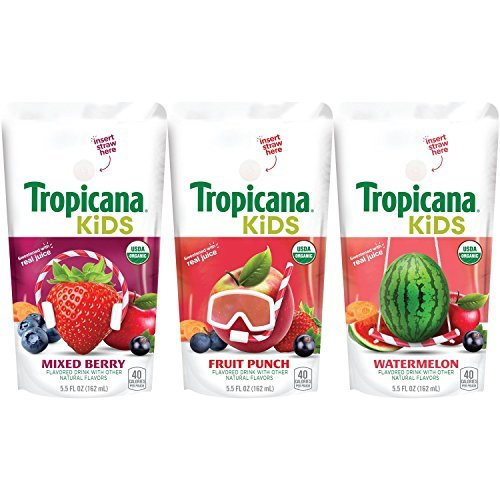 Tropicana Kids Organic Juice Drink Pouch, Variety Pack - Fruit Punch, Watermelon