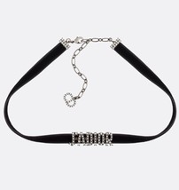 NEW AUTH Christian Dior J'ADIOR CRYSTAL SILVER VELVET Limited Necklace Choker