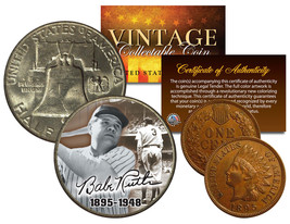 BABE RUTH 1948 Franklin Half Dollar & 1895 Indian Head Penny 2-Coin Set LIFETIME - $28.66