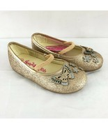 Sparkle Club Toddler Girls Ballet Flats Mary Jane Glitter Butterfly Gold... - $14.50