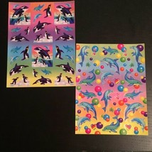 Vintage 90s Lisa Frank Full Sticker Sheets 1x  Dolphins + 1x Orca Whales