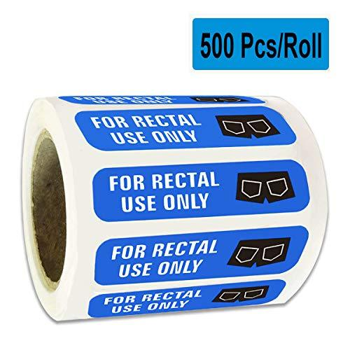 "500 for Rectal Use Only Stickers Waterproof - 1.5"" x 3/8"" Blue Permanent Adhesiv"