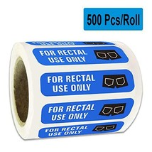 "500 for Rectal Use Only Stickers Waterproof - 1.5"" x 3/8"" Blue Permanent Adhesiv image 1"