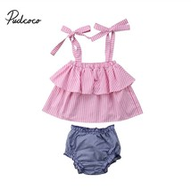 Newborn baby girl clothes 2018 Infant Child Plaid Crop top+Pants Shorts ... - $12.99
