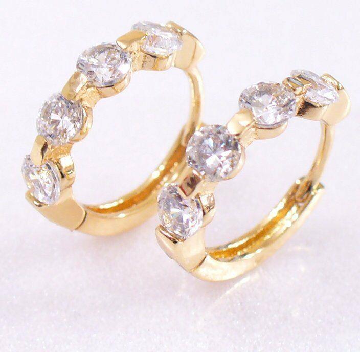 Women Clear & Pink Simulated Diamond 18K Gold/Rose Plated Hoop Earrings UK