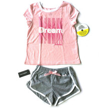 Diesel Girls 2 Piece Pajama Set Size 4 Top and Shorts Pink Gray Sleepwea... - $22.55