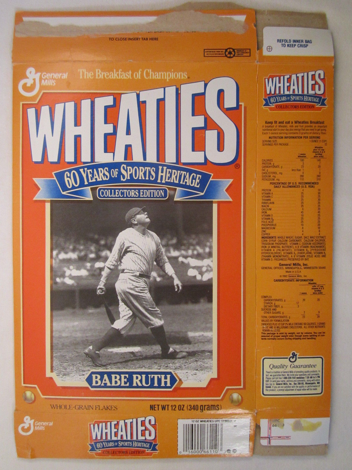 Primary image for Empty WHEATIES Box 1992 12oz BABE RUTH Collectors Edition [Z202g1]
