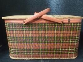 Vintage 1960s picnic basket Redmon plaid wood American made - $724,47 MXN