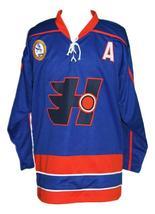 Custom Name # Halifax Highlanders Retro Hockey Jersey Blue Laflamme #70 Any Size image 3