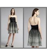 Aidan Mattox Black Strapless Sweetheart Neckline Fun Polka Dot Dress - S... - $89.95