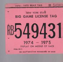 New York State Big Game License Tag 1974-1975 - $14.40