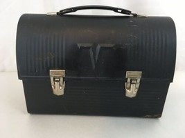 King Seeley Thermos Vtg USA Made Black Steel Lunch Box - $38.61
