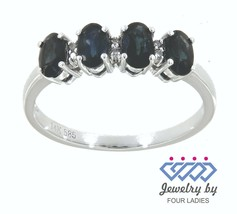 Zafiro Azul Piedra Preciosa 14K Oro Blanco 1.44CT Natural Cuatro Diamant... - $1,252.55