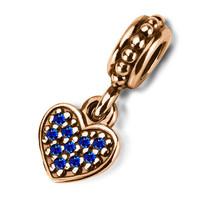 9ct Handmade GOLD LOVE HEART DANGLE Fits EUROPEAN BRACELETS Sapphire Cha... - $117.32