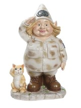 Woman Soldier Garden Gnome with Kitten 14 In Figure M8 - $148.49