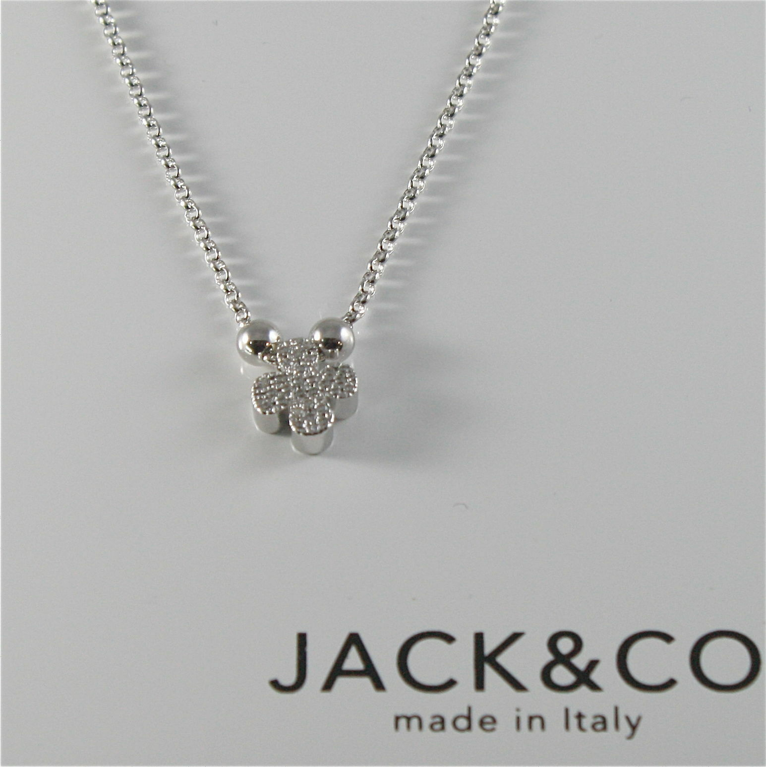 Chain to Rings Silver 925 Jack&co Clover with Cz JCN0528
