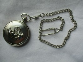 Hands Heart Crown Pocket Watch Silver Tone Round Face with Chain - $27.00