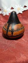 Vintage Peruvian Folk Art Hand Carved Gourd Woman, Wild Animals, Daily Living image 4