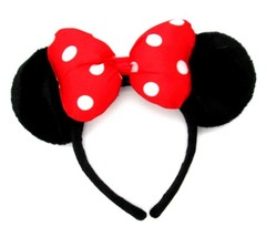 Disney MINNIE MOUSE EARS Black Plush Covered Headband RED Polka Dot Bow OSF - $23.53