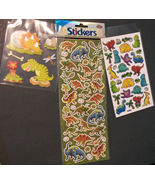 DINOSAUR STICKERS 3-pack 105 sticker set Large 3D Glitter Laser T-Rex NEW - $5.99