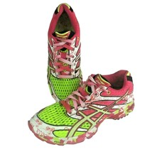 Asics Gel Noosa Tri 6 Size 8 Pink and Green Running Training Athletic Shoes - $44.52
