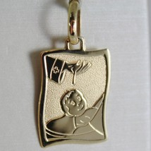 18K YELLOW GOLD SQUARE MEDAL REMEMBRANCE OF BAPTISM ENGRAVABLE MADE IN ITALY image 1