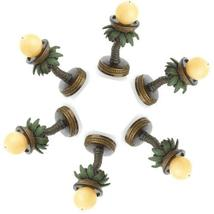 Six (6) round coconut palm tree oasis tropical patio deck table candle h... - £25.57 GBP